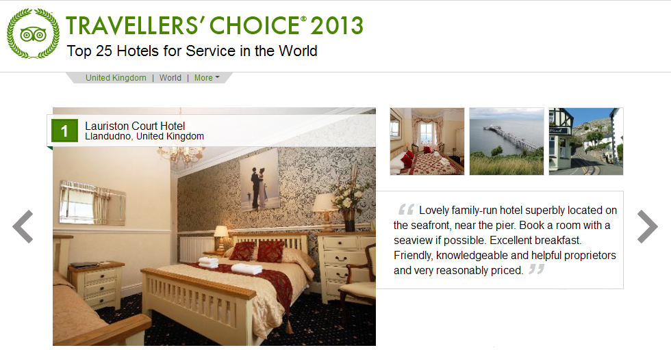 Lauriston Court Best Service Hotel in the World awarded by Trip Advisor