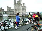 Cyclists in Caernarfon